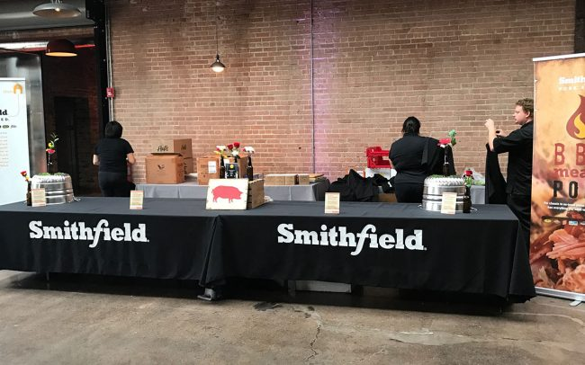 A branded display for Foodmix's foodservice client Smithfield on a stand at a barbecue event.