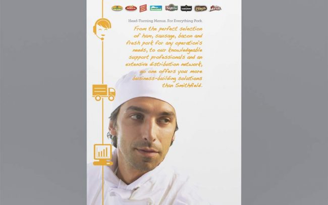A branded pullup banner that showcases a chef made for a corporate trade show for Foodmix's foodservice client Smithfield