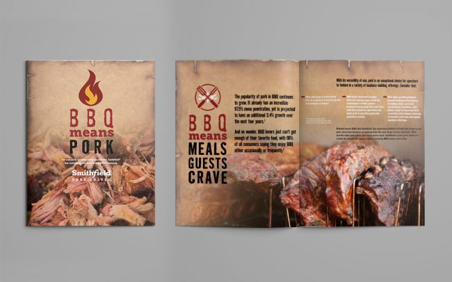 A two-page foodservice marketing ad created by Foodmix to advertise Smithfield's barbecue promotional campaign