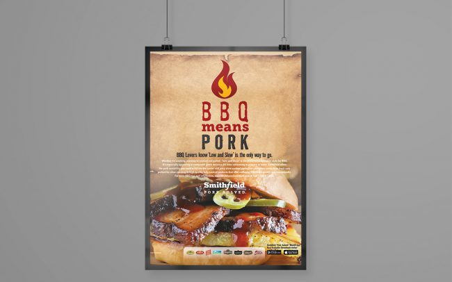 A foodservice marketing poster created by Foodmix for Smithfield with the words BBQ Means Pork