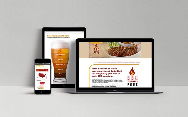 Examples of digital foodservice marketing materials for Smithfield created by Foodmix, including a website and a web portal.