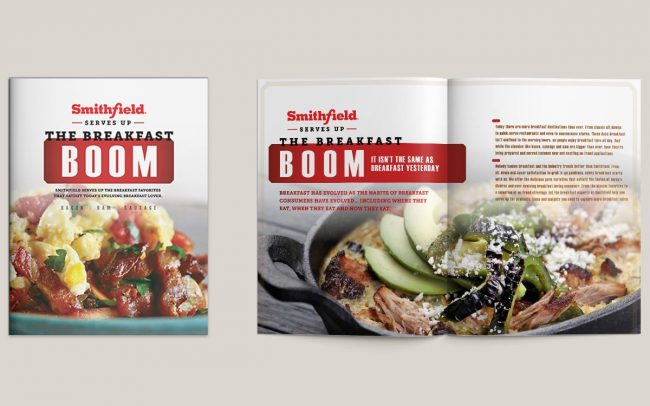 A two-page foodservice marketing ad to advertise Smithfield's Breakfast Boom promotional period