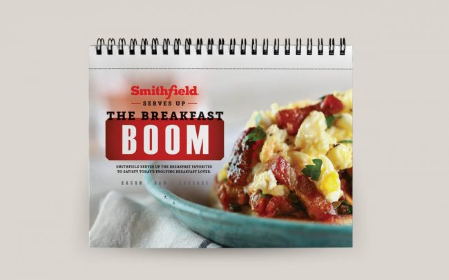 A calendar for Smithfield created by Foodmix that is used as a sales tool to promote their breakfast promotion.