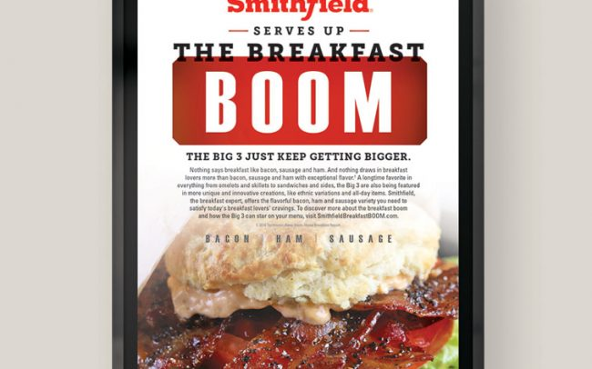 A foodservice marketing poster for Smithfield with the words The Breakfast Boom