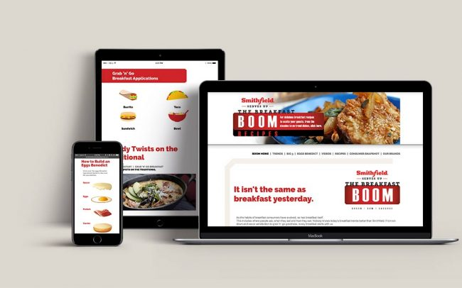 Examples of digital foodservice marketing materials for Smithfield created by Foodmix including a website and a web portal.