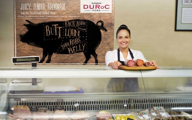 A butcher area display poster created by Foodmix for Smithfield Duroc Pork that shows a diagram of pork cuts