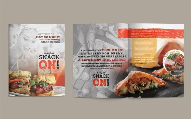 A three-page foodservice marketing insert to advertise Smithfield's Snack On promotional period