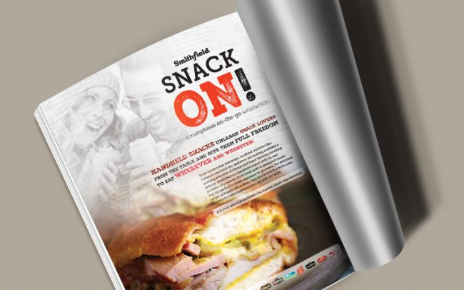 A specially inserted magazine ad for Smithfield promoting their pork products for their snack promotion