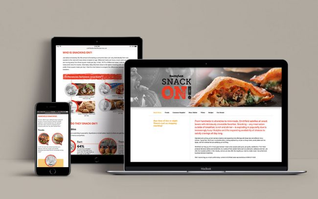 Examples of digital sales tools created by Foodmix for Smithfield and their Snack On promotional campaign.
