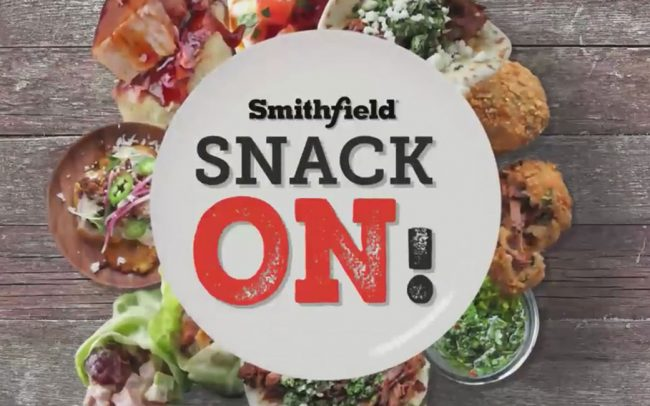 A still photo of the Snack On Promotion from a corporate foodservice video created by Foodmix for Smithfield