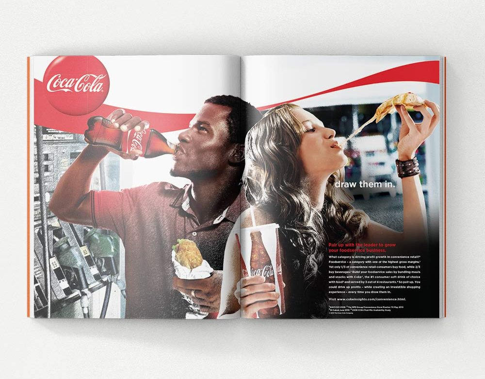 A two-page spread for a foodservice magazine that promotes Coca Cola that shows happy customers and the words Draw Them In.