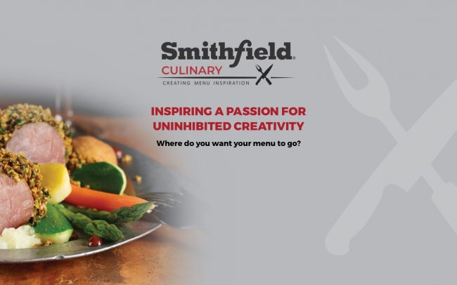 A plate of peppered pork and vegetables plus the Smithfield Culinary logo and the line Inspiring A Passion For Uninhibited Creativity.