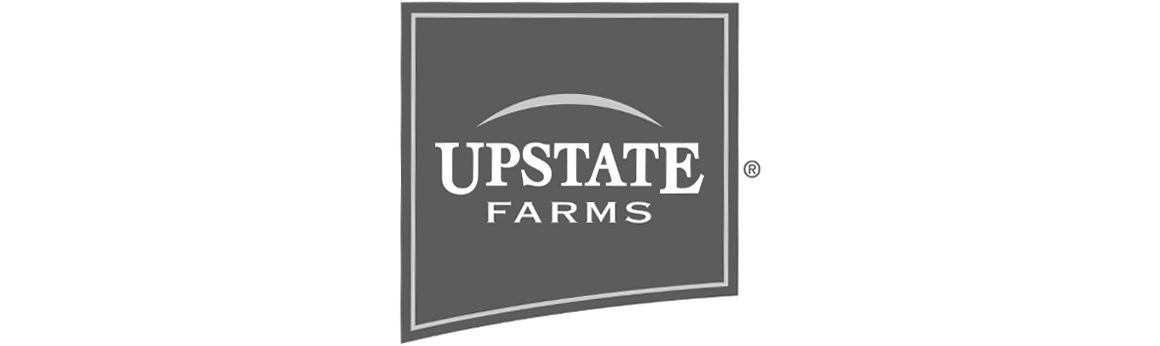 The corporate logo for Upstate Farms, a cooperative of over 300 family-owned dairy farms.