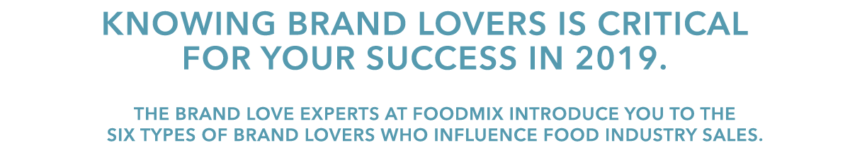 "A headline that reads ""Knowing Brand Lovers Is Critical For Your Success"" and a subhead about the Brand Love Experts at Foodmix."